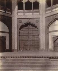 Close view of the great wooden horse-shoe door of the Buland Darwaza, Fatehpur Sikri